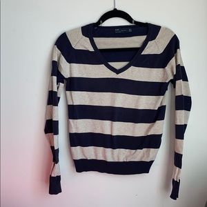 Zara Navy/Cream Stripe V-Neck Sweater